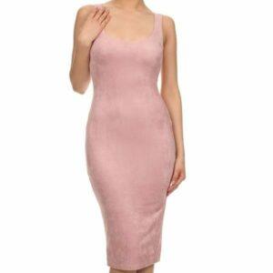 Roze suede jurk