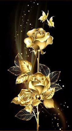 diamond paining gouden bloemen