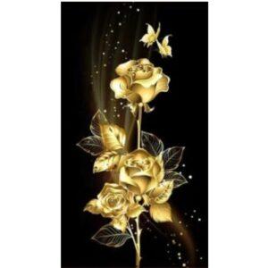 Diamond painting gouden bloemen