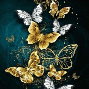 Diamond painting gouden vlinders