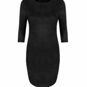 Suede jurk zwart