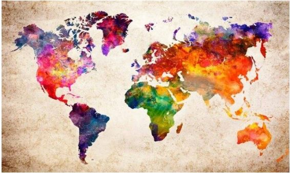 Diamond painting wereldkaart